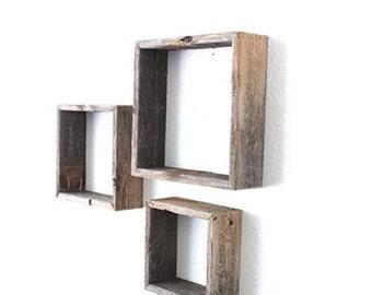 Reclaimed Barnwood Open Box Shelves | Rustic Vintage Distressed Floating Farmhouse Barn Wood Decor Furniture Shelve Shelfs Shelf