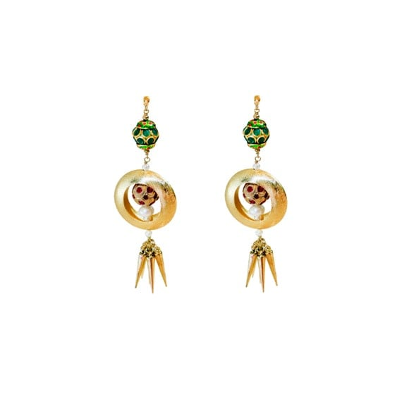 Gold Green Studded Stone spikey Dangler Indian Rajasthan Contemporary Earrings