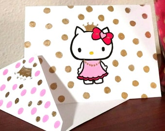 Hello Kitty Hand Painted Card/Matching Envelope,Hello Kitty Art,Any Occasion Card,Blank Card,Hello Kitty Painting,Greeting Card,Holiday Card