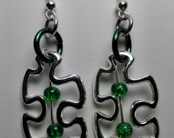 Earrings Puzzle Piece with Beads