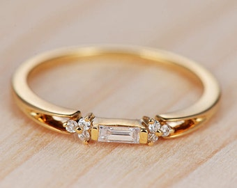engagement ring diamond 14k gold antique wedding band unique women promise baguette cluster stacking anniversary gifts - Simple Wedding Rings For Her