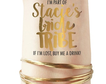 PERSONALIZED Gold Bride Tribe tattoos with the Bride's name! Bachelorette party tattoos - hen party tattoos - vegas bachelorette team bride