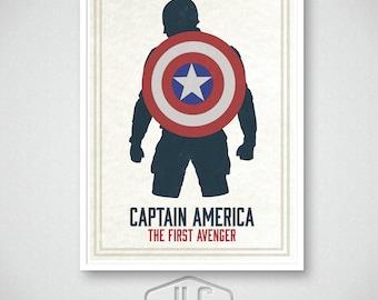 Captain America Art Print, Marvel Comics, Movie Poster