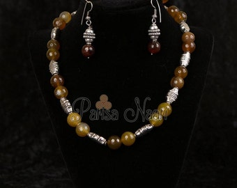 Yellow jade necklace set