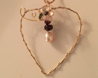 14K Gold Heart Shaped Pendant with Garnet and Fresh Water Pearl w/Nail Polish Flower using 14K Yellow and Rose Gold Filled Wire