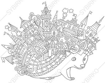 Adult Coloring Page Hedgehog Zentangle Doodle Book For Adults Digital Illustration