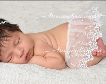 ivory lace skirt overlay, lace digital skirt, digital prop newborn girl