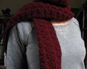 Extra long maroon textured crochet scarf