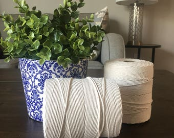 Macrame string / 2mm white cotton / 825 ft / single strand / macrame cord / macrame supplies
