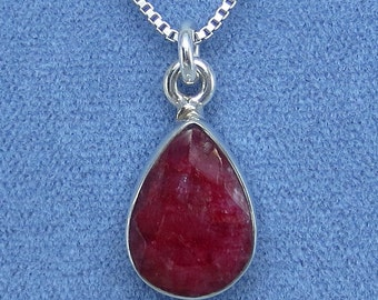 14mm x 10mm Natural Ruby Necklace Sterling Silver - Fancy-Dancy Jewelry P140602