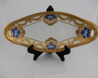 Very Rare Antique Vintage Noritake Bone China Tray Morimura Era 1918 M Mark Gold Scolling Cobalt Blue Medallions with White Doves inset