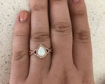 Rose Gold Pear Shape White Opal Stone Engagement Infinity Band Ring Halo Solid Sterling Silver Tear Drop Promise Ring