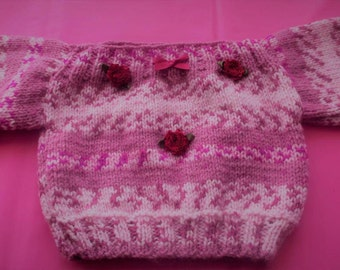 Hand knitted Baby Jumper -  0-3 months