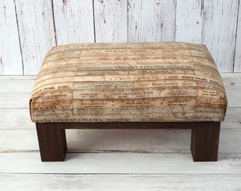 Farmhouse ottoman - rustic ottoman pouf - country decor foot stool - upholstered ottoman farmhouse decor - small bench - wood ottoman