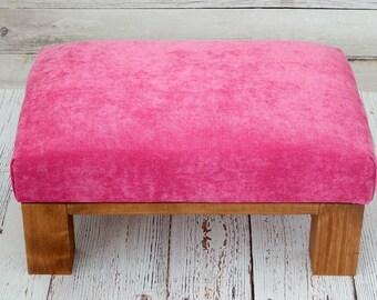 Velvet furniture ottoman - velvet ottoman - velvet footstool - pink ottoman - foot rest - rustic furniture living room - pink footstool -