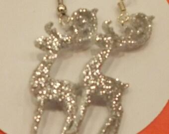 Silver glitter reindeer earring set