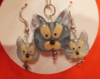 Glass Cat Jewelry Set