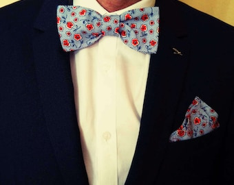 Bow tie man. Bowtie. Flowers bow tie with handkerchief game. Bow tie for a wedding.