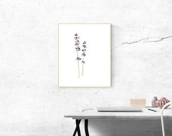 Small Original Watercolor Paintin, Miniature Paintings Original Small Painting of Watercolors Flowers Purple Lavender Flower Minimalist Art