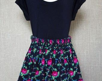 Girls Black Slavic (Polish) Folk Skirt