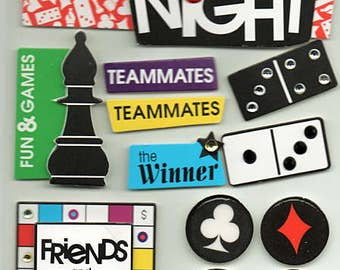 Game Night Board Game Soft Spoken Scrapbook Stickers Embellishments Cardmaking Crafts Me & My Big Ideas