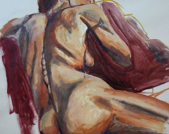 Painting, nude woman, back, red, brown, life model, valentines, original art, affordable, wall art, bedroom, Irish, female, feminist, large