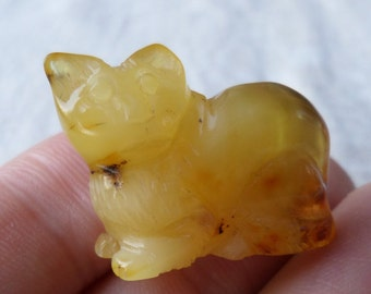 4,18gr. CAT Authentic Butterscotch Natural Real Hand Carved Baltic Amber Amulet