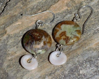 green opal & puka shell earrings