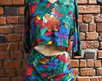 Women's 80s Giorgio Armani Tropical Print Pattern Short Sleeve Blouse Top With Midriff Cut Out Size EU 42 / US 12