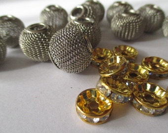 Silver Mesh Metal Round Beads with Accents