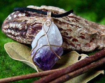Raw Amethyst Crystal Necklace - Amethyst Crystal Choker Raw Crystal Necklace Natural Crystal Boho Jewelry Raw Stone Jewelry Healing Stone
