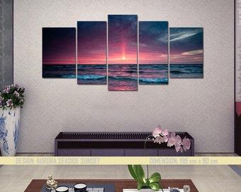 Aurora Seaside Sunset- split framed canvas print