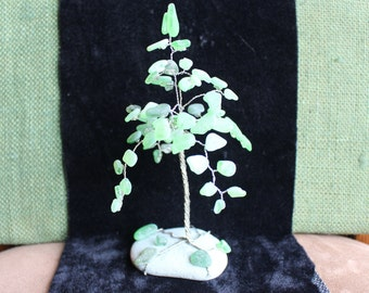 Wire Wrap Tree with Green Sea Glass