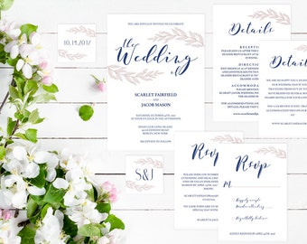 Navy Blue and Pink Wedding Invitations Navy Blue Wedding Invitation Set Template Invitation Suite Printable Invitation Download Invitation