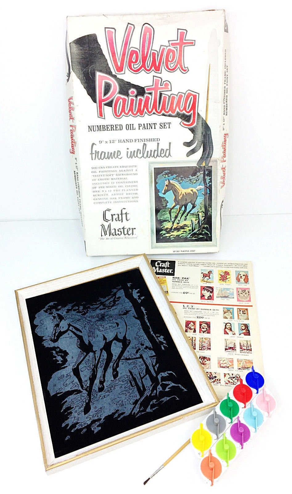 Craft master paint by number kits - Vintage 1966 Craft Master Black Velvet Paint By Number Kit Playful Colt Horse A1