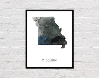 Missouri Map Print, Missouri Art Print, Missouri Printable Wall Art, Watercolor Map, Missouri Poster, Printable Missouri State Map, Download