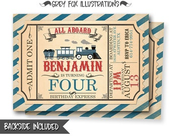 Train Ticket Invitation, Train Birthday Invitation, Train Invitation, Train Invites, Trainl Party, Steam Engine, Personalized, Printables