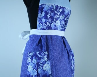 Handmade Vintage Inspired Apron Fully Lined (reversible) with Pockets - Blue Floral