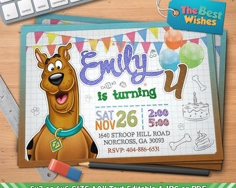Scooby Doo Invitation, Scooby Doo Birthday Party, Cartoon, Personalized, Printable, Ballpoint Pen Drawing On Grid Paper, Digital File