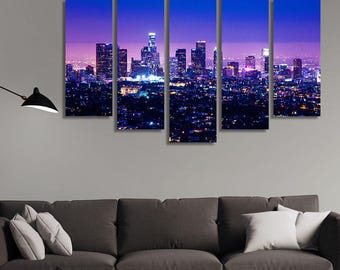 LARGE XL Los Angeles Skyline with Buildings, Business District Downtown California Canvas Print Wall Art Print Home Decoration - Stretched