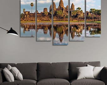 LARGE XL Ancient Khmer Architecture Canvas Print Angkor Wat Temple, Siem Reap, Cambodia Canvas Wall Art Print Home Decoration - Stretched