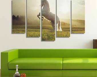 LARGE XL White Horse Canvas Print Nature Sunrise Canvas Horse on Its Back Hooves Canvas Wall Art Print Home Decoration - Stretched