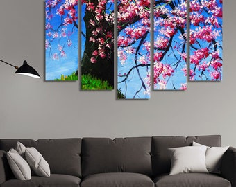 LARGE XL Canvas Print Cherry Tree Blossom Canvas Fresh Flower Spring Canvas Wall Art Print Home Decoration - Stretched