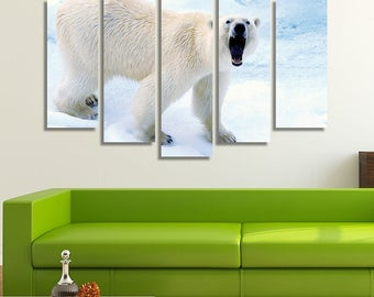 LARGE XL Angry Polar Bear Roaring Canvas Wall Art Print Home Decoration - Framed and Stretched - 8003