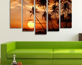 LARGE XL Tropical Beach at Sunset Canvas Palm Trees Wall Art Print Home Decoration - Framed and Stretched - 4010