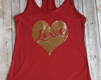 Love Tank Top, Valentines Day Tank Top, Foil Tank