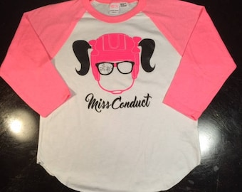 Miss Conduct's Girl Goon Pink and White ultra soft Raglan Hockey Shirt