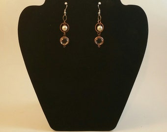 copper and pearl dangles