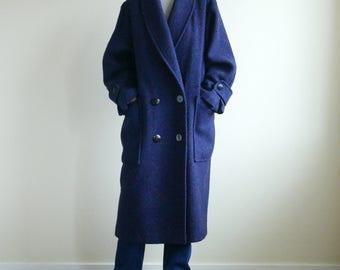 Navy Oversized Shawl Collar Coat