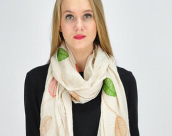 Beige Leaf Autumn Scarf / Spring Summer Scarf / Infinity Scarf / Womens Shawl Wrap Scarf Accessories / Gift for her